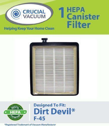 Dirt Devil F45 HEPA Canister Filter, Fit Dirt Devil Vacuum Cleaner F45, Pets & # #CrucialVacuum