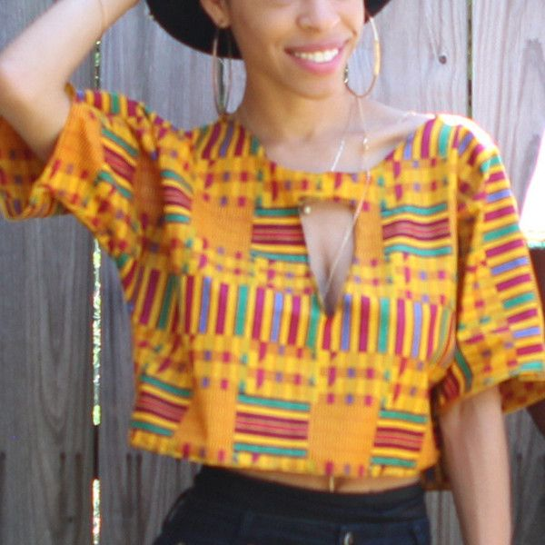 Custom African Fabric Crop Top With Peep Chest Kente Ankara ($39) ❤ liked on Polyvore featuring tops, crop tops, grey, women's clothing, print top, gray top, oversized tops, african tops and oversized crop top