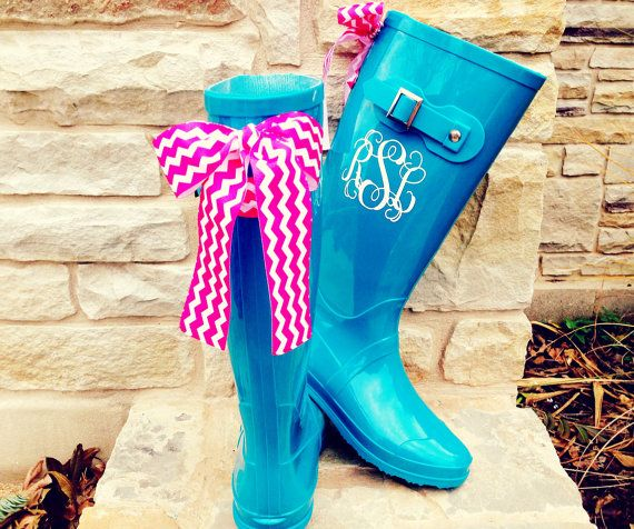 Teal Gloss Boot with Custom Bow and Monogram