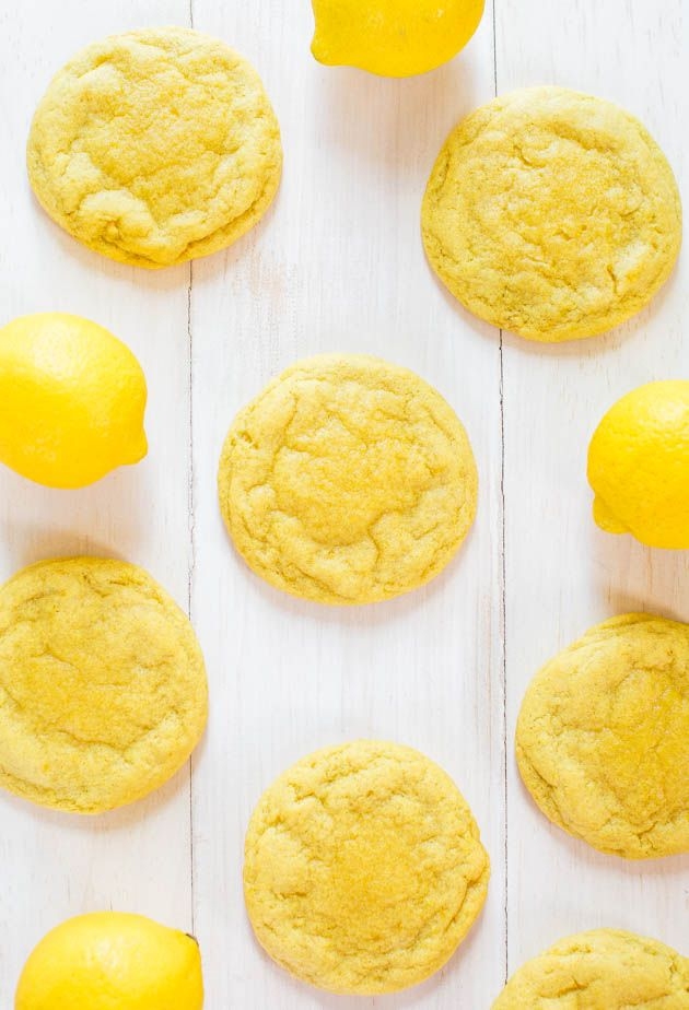 Soft and Chewy Lemon Cookies - Packed with big, bold lemon flavor for all you lemon lovers! They're soft, chewy and not at all cakey!!
