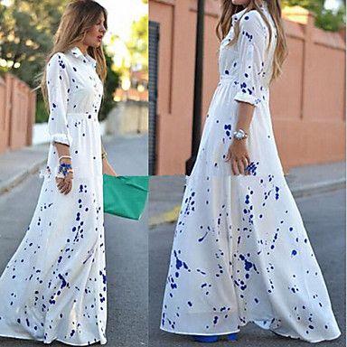Women's Shirt Collar Dress , Cotton Blends Maxi Sleeveless 2016 - $16.99