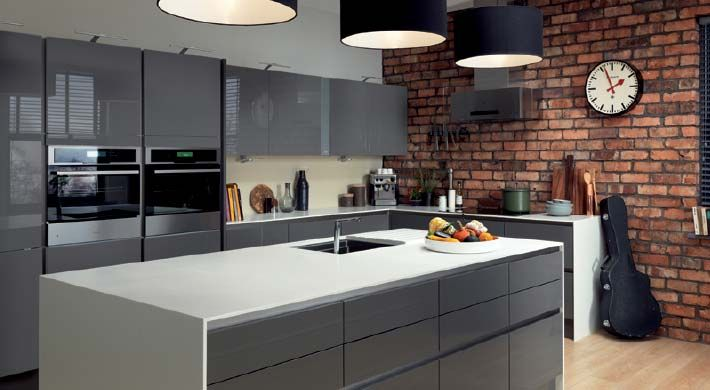 Integra Astral Grey fitted kitchen by Magnet. #greykitchen #glosskitchen