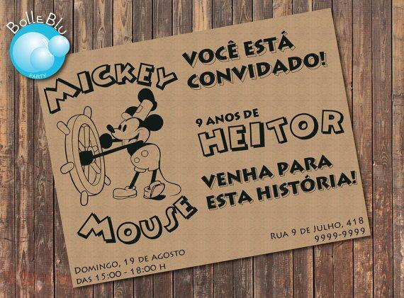 Topolino Disney Invito Digitale Personalizzato di BolleBluParty