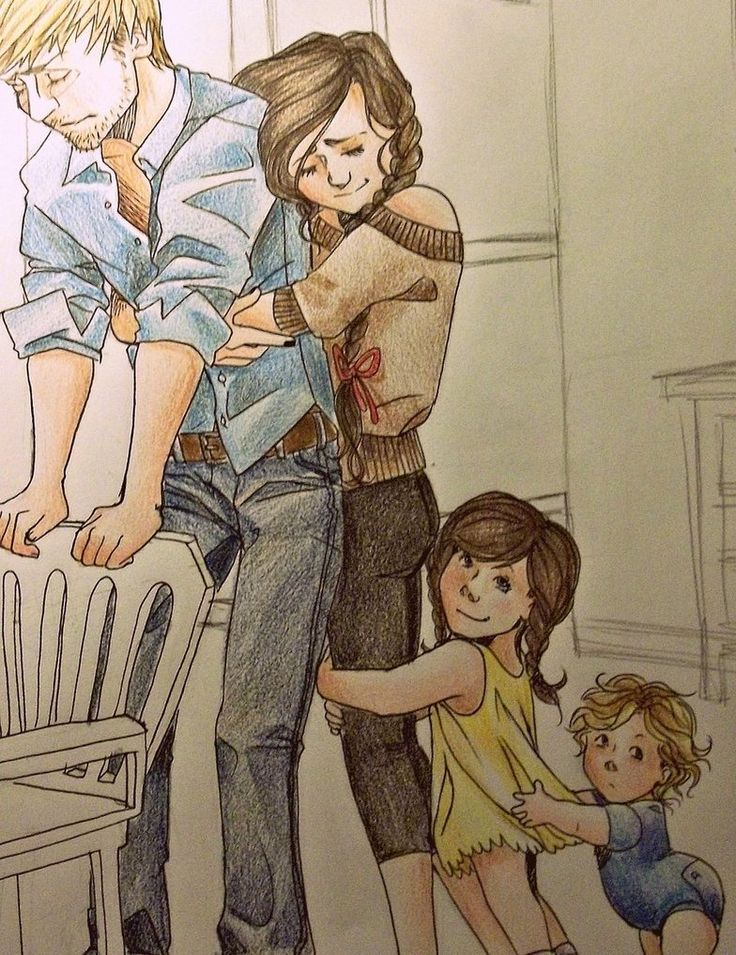 I love fan art. Peeta, Katniss, & the kids. Katniss pulling Peeta out of a moment.