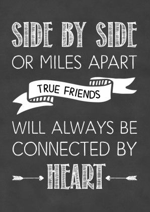 Kaart in handletteringstijl met krijtbordprint en de tekst 'Side by side or miles apart true friends will always be connected by heart', verkrijgbaar bij #kaartje2go voor € 0,99
