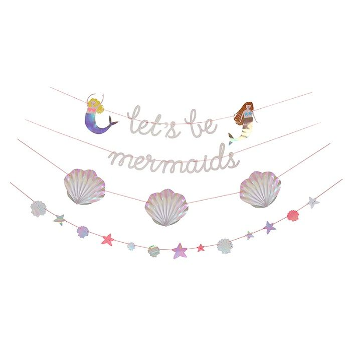 Meri Meri Let's Be Mermaids Garland: Create an undersea world with this beautiful mermaid garland featuring a let's be mermaids slogan and a pair of mermaids with shimmering, holographic foil tails. There are also scallop shell pennants and an array of glittering stars.
