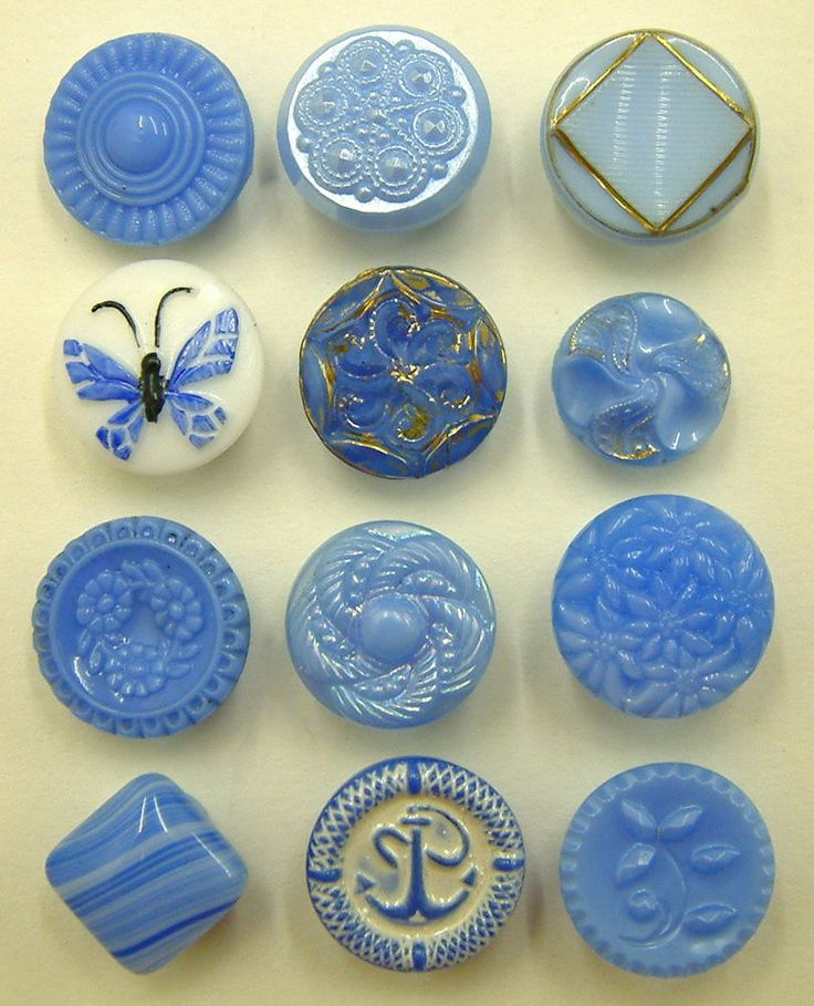 12 Small Vintage Sky Blue & White Glass Buttons