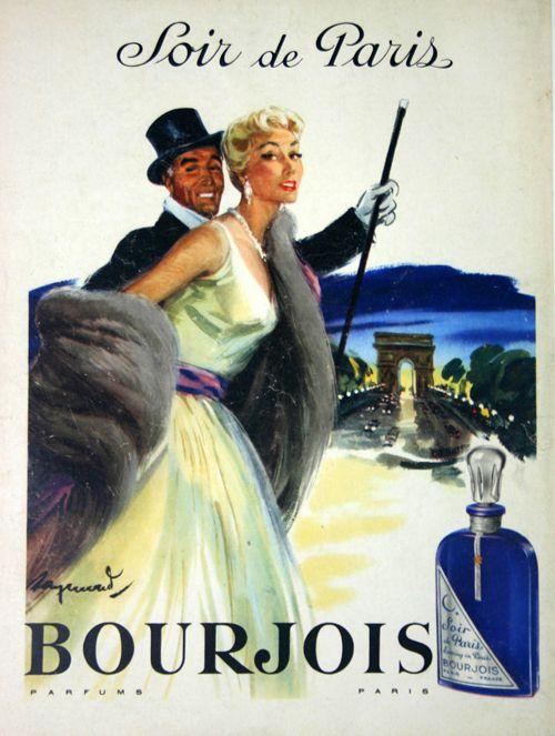 Affiche Soir de Paris Parfum Bourjois - France - 1950 - illustration de Raymond -