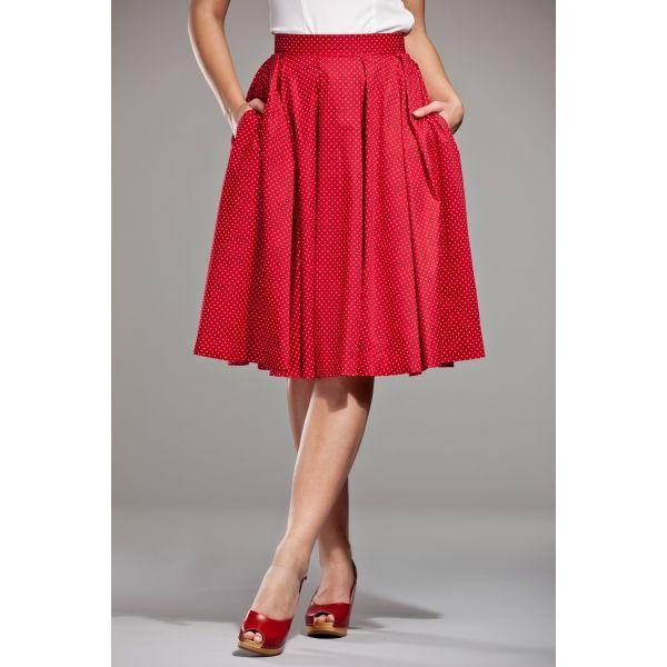 Gonna rossa decorata con piccoli pois bianchi, in leggero tessuto di cotone. Può essere indossata per ogni tipo di evento!