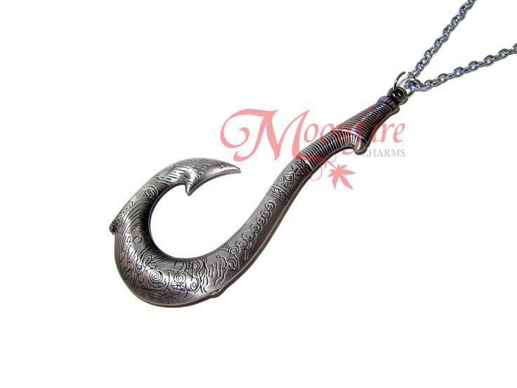 Moana matau symbol fish hook pendant necklace strength for Maui fish hook necklace