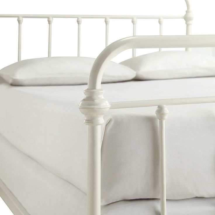 Giselle Antique White Graceful Lines Victorian Iron Metal King-Sized Bed by TRIBECCA HOME - Free Shipping Today - Overstock.com - 16290970 - Mobile