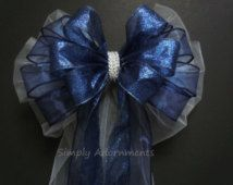 blue and white pew bows - Google Search