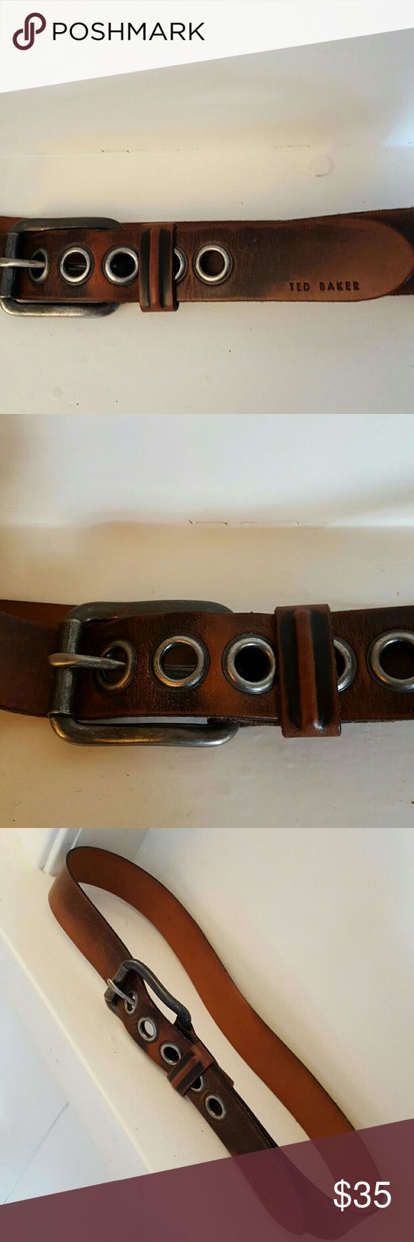"Ted Baker leather belt Brown leather Ted Baker belt ""Ted Say's Buckle Up"" made in Italy . In new condition . A great hip belt that with become yoyr favorite belt waer it with everything .  Really cute with cut off jean shorts . Ted Baker Accessories Belts"