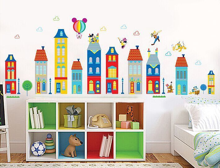 Cheap sticker pc, Buy Quality sticker bird directly from China stickers ninja Suppliers: wholesale Children room background can remove stickers cartoon house building wall stickers lovely Mickey XY1128