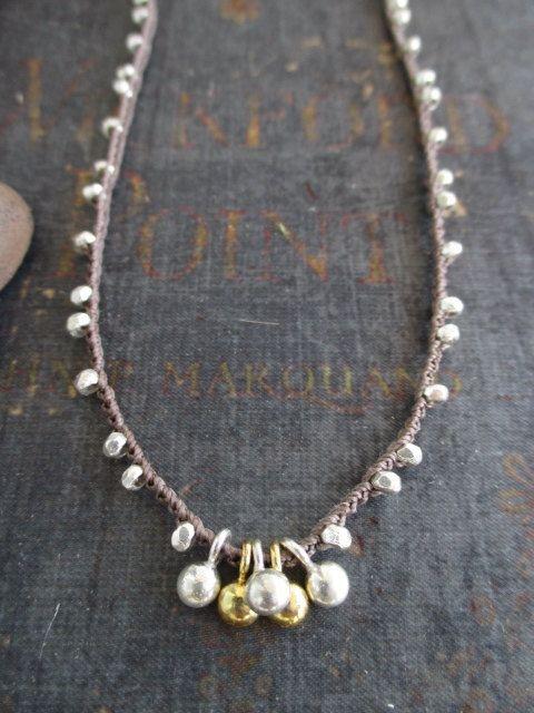 Silver gold crochet necklace Serendipity fine by slashKnots