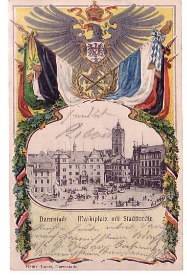 Marktplatz mit Stadtkirche, Prägedruck, gelaufen 13.06.1902, Verlag Lautz Heinr., Darmstadt,
