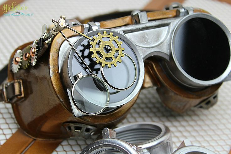 DIY Steampunk Goggles by Michelle's Party Plan-It. Steampunk costume inspriration for Halloween and cosplay.