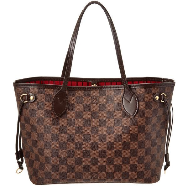 Pre-Owned Louis Vuitton Damier Ebene Canvas Neverfull Pm ($950) ❤ liked on Polyvore featuring bags, handbags, nocolor, brown handbags, brown bag, preowned handbags, shoulder strap handbags and canvas bags