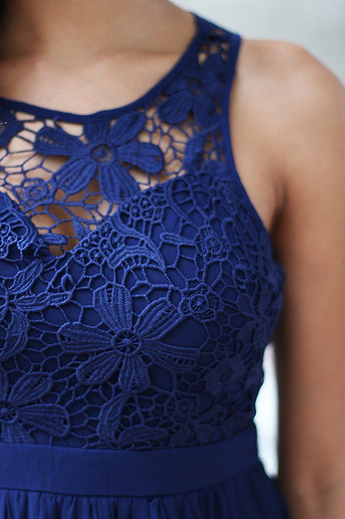 navy dress with lace detail