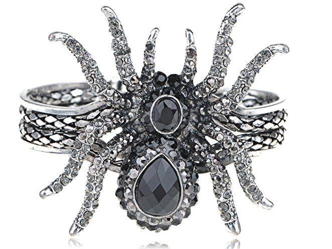 Alilang Silvery Metal Rhinestone Spider Bangle Bracelet Halloween