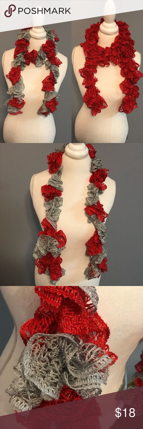 "Handmade scarves bundle Two stylish, fun handmade scarves. One is red and gray with silver sparkly threads running through the yard. The other is red with silver sparkly threads. Each measure approximately 60"" long. Excellent used condition. Accessories Scarves & Wraps"