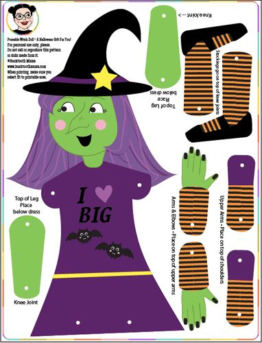 Free Printable Halloween Poseable Witch Doll - Tip Junkie