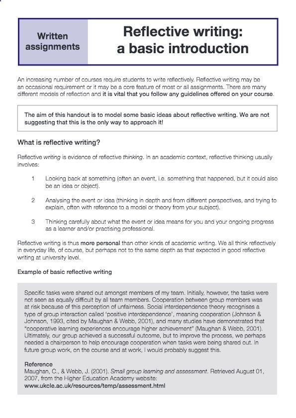 Reflective Writing I Thu More Personal Than Other Kind Of Academic We All Think Re Essay Example Self Reflection A