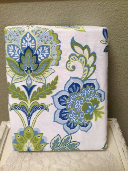 """Kelly Green Curtains With Light Gray Grasscloth Walls: Blue And Green Floral On White Shower Curtain """"Galina"""