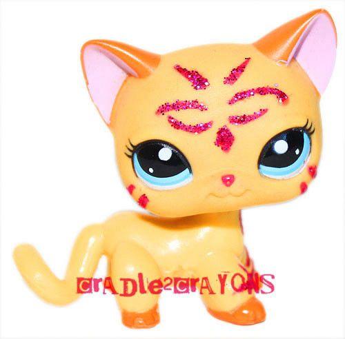 Littlest Pet Shop LPS RARE ORANGE SHORT HAIRED GLITTER SPARKLE CAT # 2118