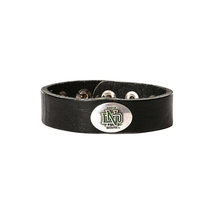 Women's North Dakota Fighting Hawks Leather Concho Bracelet, Black