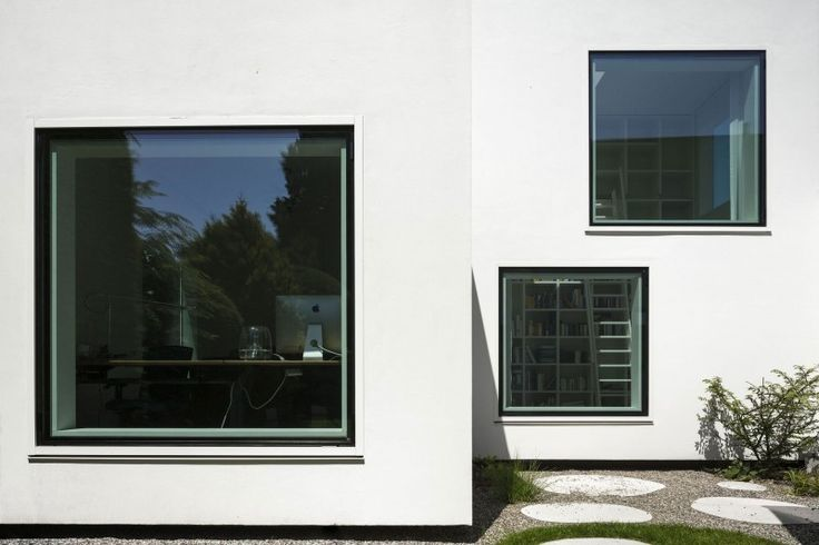 creative house exterior design ideas with square glass panel design idea equipped with white wall color design idea