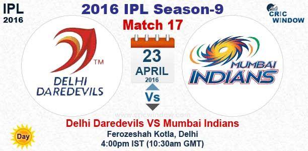 VIVO IPL 2016:Match 17 : Delhi vs Mumbai (Day) Live Ferozeshah Kotla Stadium, Delhi http://www.cricwindow.com/cricket_live_scores.html http://www.cricwindow.com/cricket-live-match-video.html