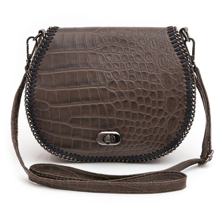 Marlafiji Chelsea Brown Croc Embossed Italian Crossbody Bag - $249.50 #travelbag #crossbodybag