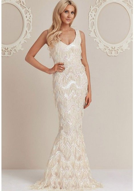 Stephanie Pratt Sequin Flapper Maxi Dress in Cream