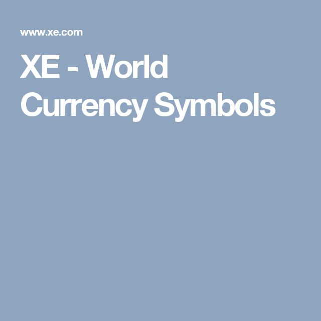 XE - World Currency Symbols