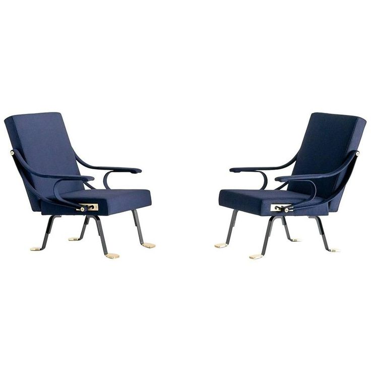 Pair of Ignazio Gardella Digamma Armchairs in Blue Raf Simons Fabric For Sale