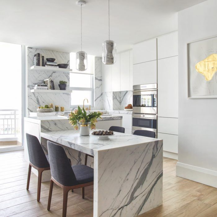 A Seamless Collab Gives Way To This Expertly Designed Miami Home Luxe Interiors Design New Kitchen Kitchen Design Kitchen Marble