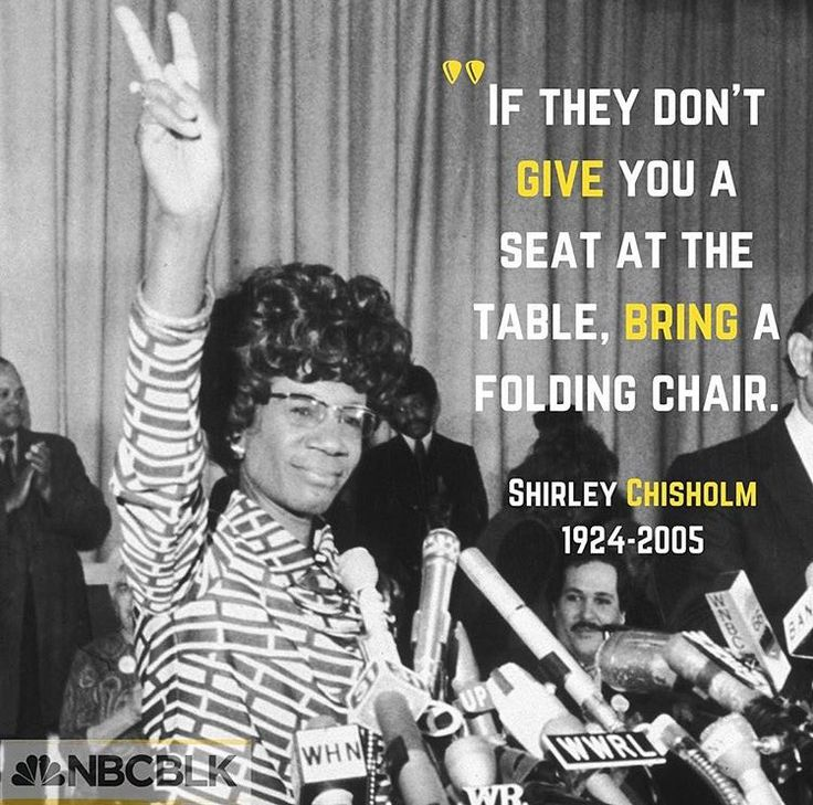 Quote from Shirley Chrisholm, who in 1968 became the first African American woman elected to the United States Congress. Chrisholm represented New York's 12th Congressional District for seven terms from 1969 to 1983. In 1972, she became the first black candidate for a major party's nomination for President of the United States, and the first woman to run for the Democratic Party's presidential nomination. #wordsofwisdom #shirleychrisholm