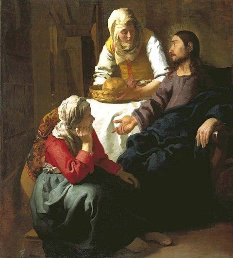 """Martha was cumbered about much serving, [worried] and troubled about many things...Mary ""sat at Jesus' feet, and heard His word...Mary hath chosen that good part, which shall not be taken away from her."" Luke 10:38-42. Christ in the house of Martha and Mary, Vermeer van Delft"