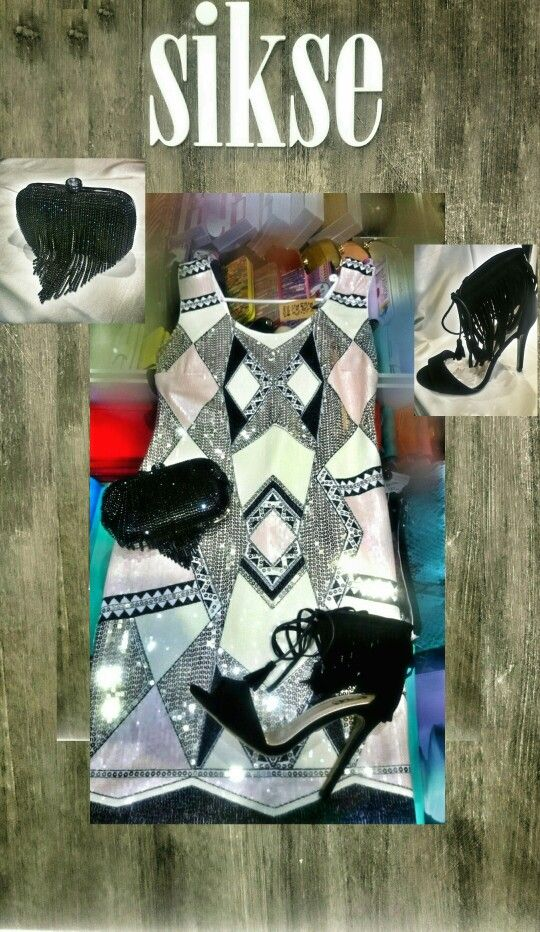 Dress white pink silver black clatch sparkling black high heels
