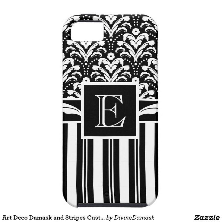 Art Deco Damask and Stripes Custom Monogram iPhone SE/5/5s Case