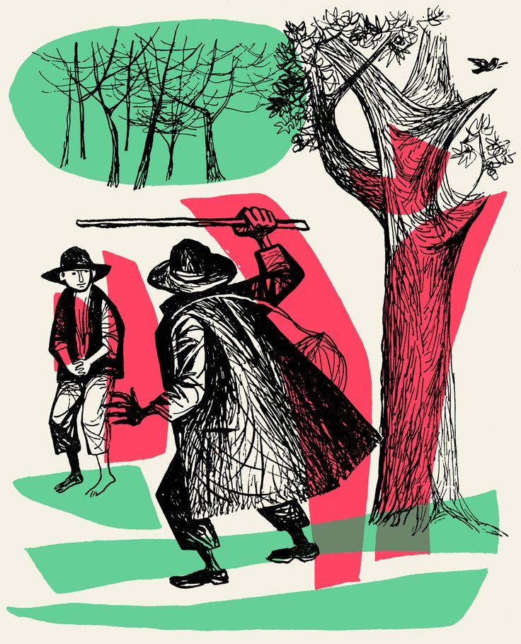 Maria Keil, ilustração para O cego e o moço, Contos Tradicionais Portugueses, 1958, p.21