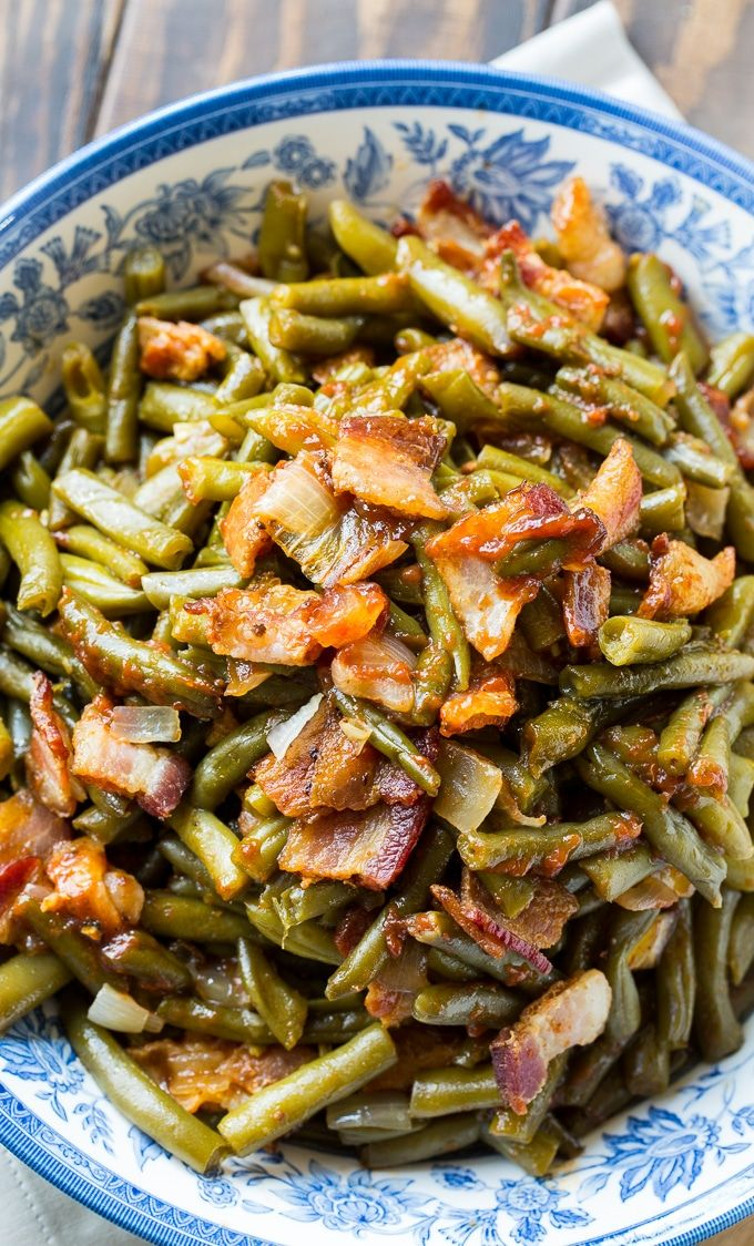 Barbecued Green Beans cooked in a crock pot.