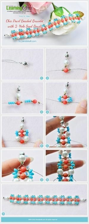 How to Make Chic Pearl Beaded Bracelet with 2-Hole Seed Beads from LC.Pandahall.com | Jewelry Making Tutorials & Tips 2 | Pinterest by Jersica