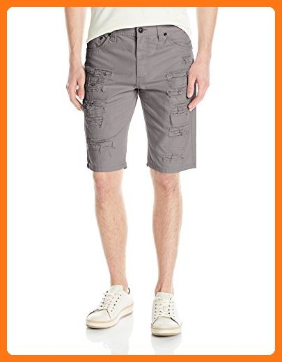Southpole Men's Short Twill Shorts with Multiple Horizontal Rips and Cuffing, Dark Grey, 38