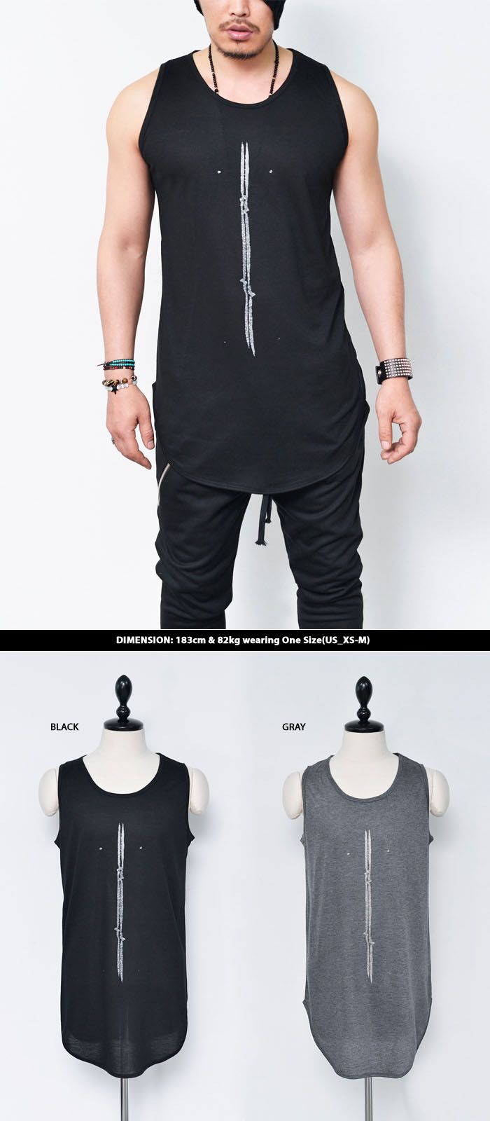 Mens Unique Vertical Print Long Singlet Tank By Guylook.com ...