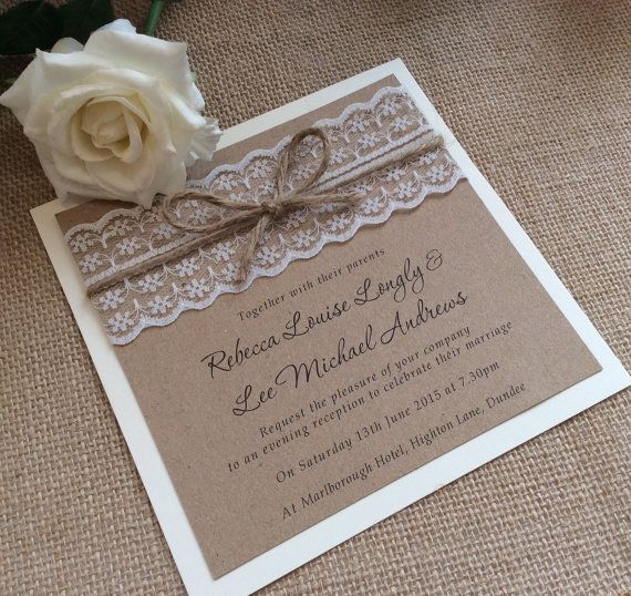 Vintage/Rustic Lace wedding invitation with twine Rebecca