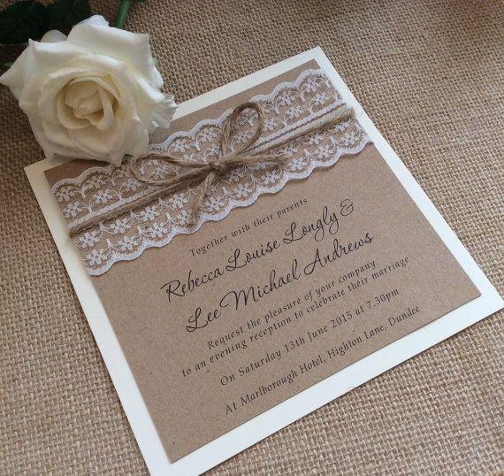 Invitation de mariage de dentelle par TheVowSheffield sur Etsy
