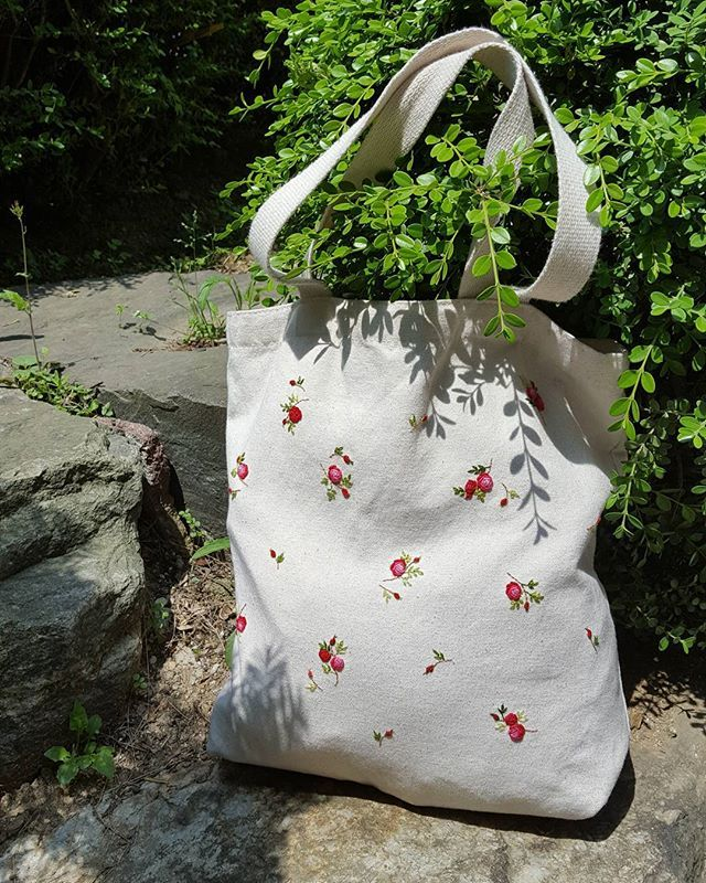 #embroidery #eco bag #flower #꽃 #handmade #gachi