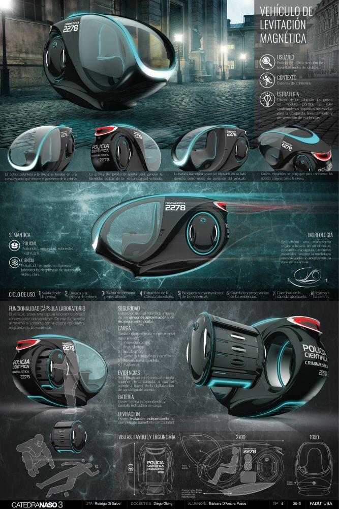 Diseño Industrial III - Vehiculo de levitación magnética by Bárbara D'Ambra…
